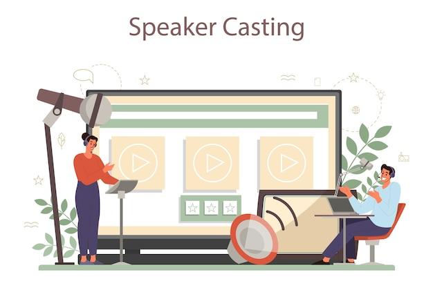 Professioneller online-dienst oder plattform für sprecher, kommentatoren oder sprecher. peson spricht mit einem mikrofon. online sprechendes casting. isolierte vektorillustration Premium Vektoren