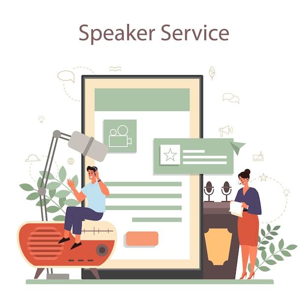 Professioneller online-dienst oder plattform für sprecher, kommentatoren oder sprecher. Premium Vektoren