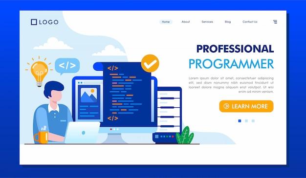 Professioneller programmierer landing page website template Premium Vektoren
