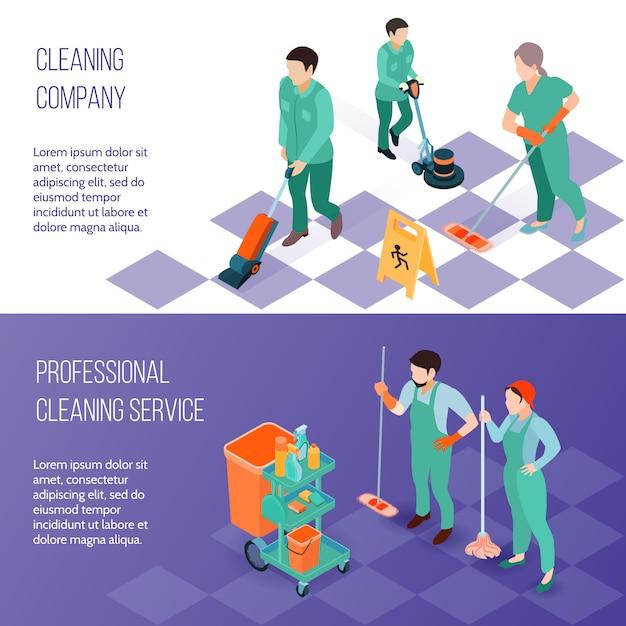 Professioneller reinigungsservice isometrische banner Kostenlosen Vektoren