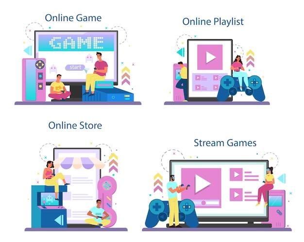 Professioneller spieler-onlinedienst oder plattformsatz Premium Vektoren