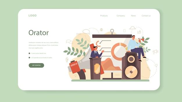 Professioneller web-banner oder landing page für sprecher, kommentatoren oder sprecher. Premium Vektoren