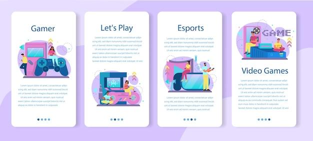 Professionelles banner-set für mobile gamer-anwendungen Premium Vektoren