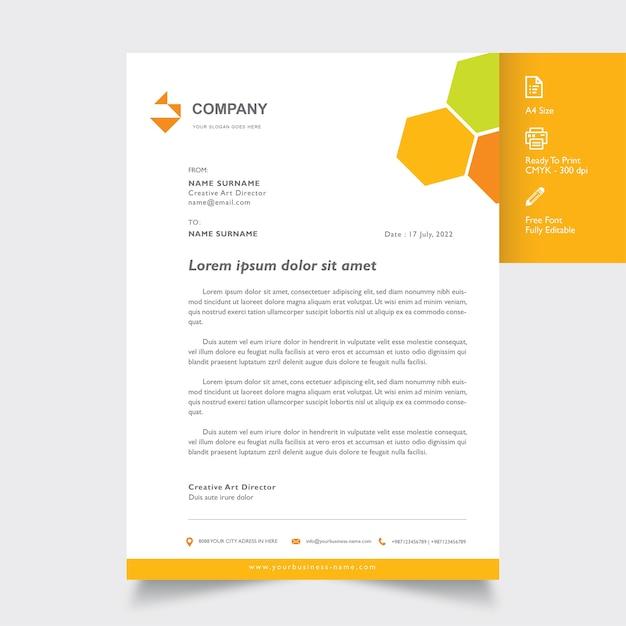 Professionelles Briefkopf Modell Mit Geometrischer Orange Farbe