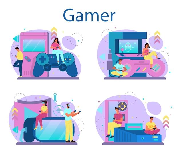 Professionelles gamer-konzeptset. person spielen auf dem computer-videospiel. e-sport-team, pro-gaming. virtuelle meisterschaft. vektorillustration im karikaturstil Premium Vektoren