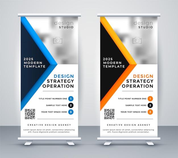 Professionelles geschäft rollup banner standee design Kostenlosen Vektoren