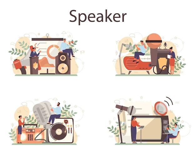 Professionelles konzept für sprecher, kommentatoren oder sprecher. peson spricht mit einem mikrofon. rundfunk oder öffentliche ansprache. sprecher des geschäftsseminars. isolierte vektorillustration Premium Vektoren