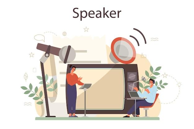 Professionelles konzept für sprecher, kommentatoren oder sprecher. peson spricht mit einem mikrofon. rundfunk oder öffentliche ansprache. sprecher des geschäftsseminars. Premium Vektoren