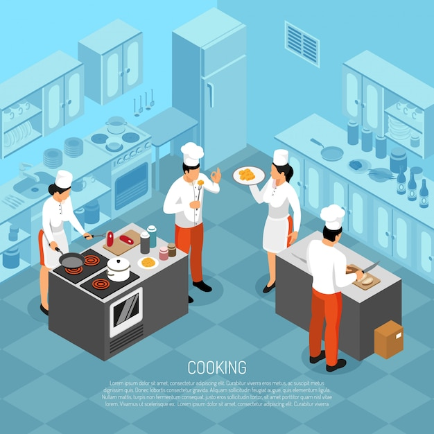 Professionelles küchenchef-küchenpersonal, das fleisch schlachtet, das wurst macht, das essen für service isometrische zusammensetzung vektorillustration vorbereitet Kostenlosen Vektoren