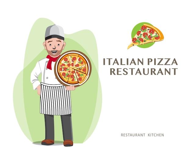Professionelles pizza chef restaurant, chef design Premium Vektoren