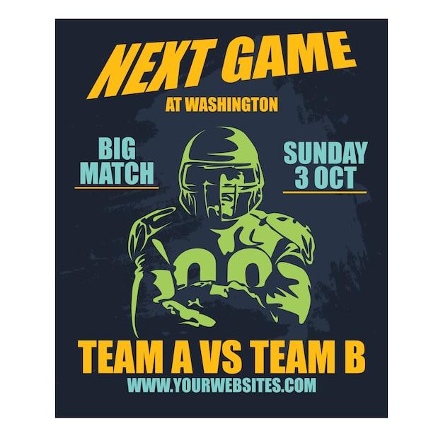 Professionelles poster american football und rugby-spiel Premium Vektoren
