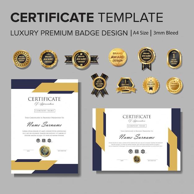 Professionelles zertifikat design mit abzeichen Premium Vektoren