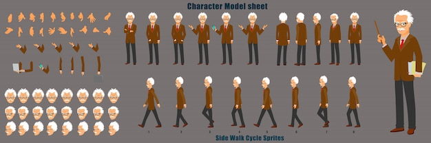 Professor character model sheet mit laufzyklus-animationssequenz Premium Vektoren