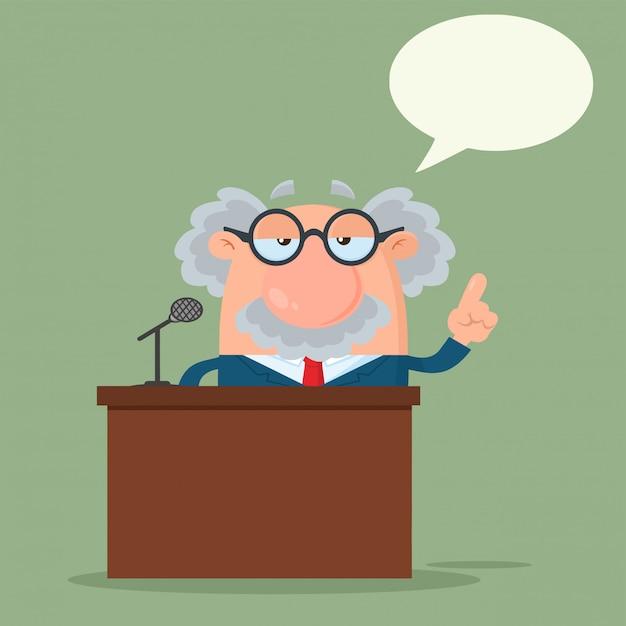Professor oder wissenschaftler zeichentrickfigur, die hinter einem podium mit spracheblase sprechen Premium Vektoren