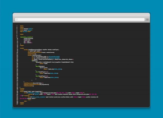 Programmcode auf dem computerbildschirm Premium Vektoren