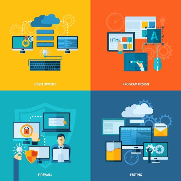 Programmentwicklung flat set Kostenlosen Vektoren