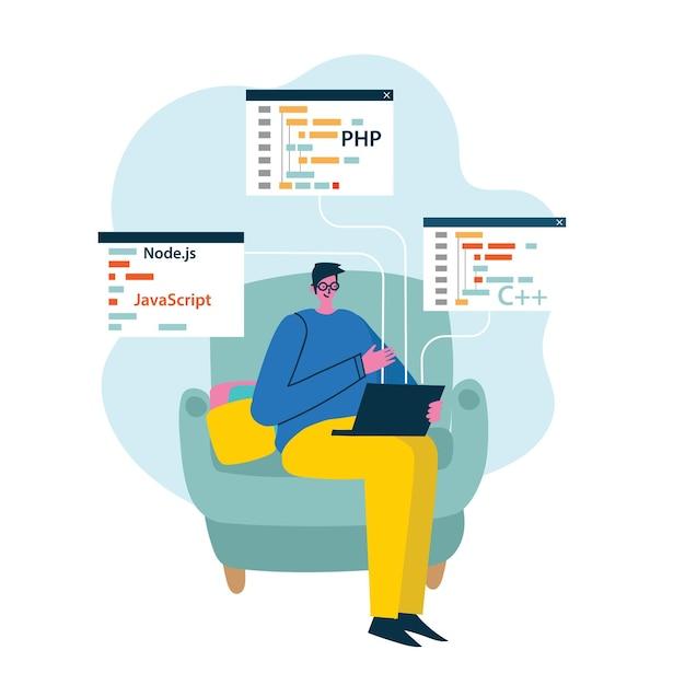 Programmier- und codierungsentwicklungs-entwurfskonzept des flachen stils Premium Vektoren
