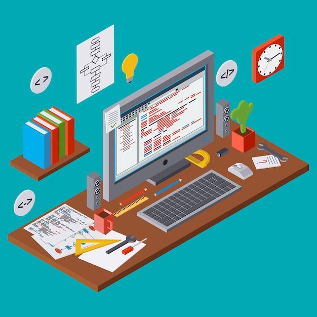 Programmieren sie codierung, seo-algorithmusverbesserung, anwendungsentwicklung, netz, das flaches isometrisches vektorkonzept 3d programmiert Premium Vektoren