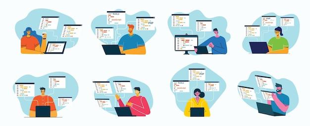 Programmieren und codieren des entwurfsillustrationskonzepts im flachen stil Premium Vektoren
