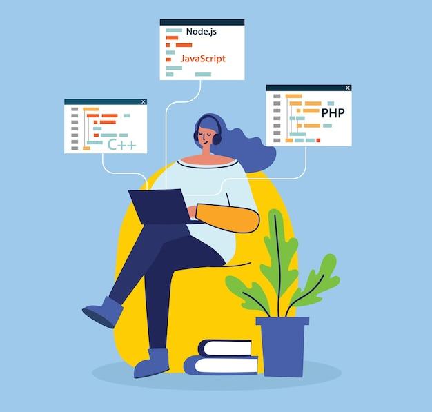 Programmieren und codieren mädchen illustration Premium Vektoren