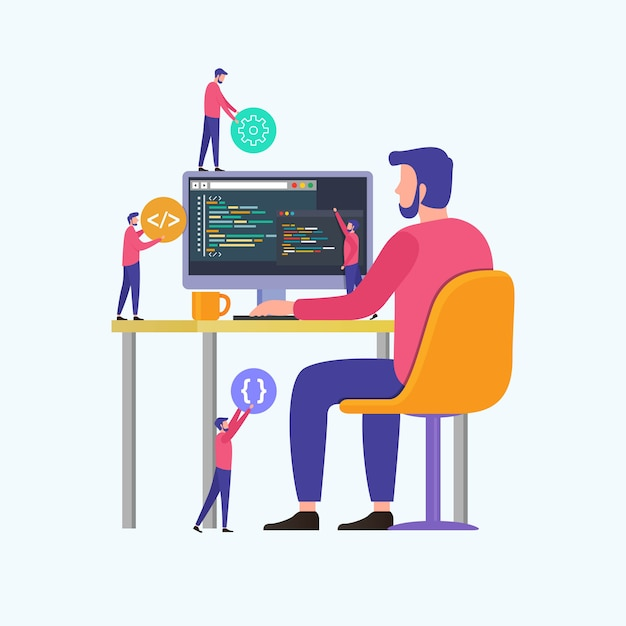 Programmierer codieren die website auf dem computer Premium Vektoren