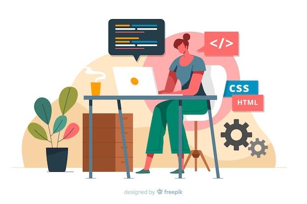 Programmierer, der mit css arbeitet Kostenlosen Vektoren