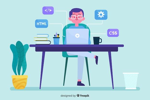 Programmierer, der mit mann im schreibtischbüro arbeitet Kostenlosen Vektoren