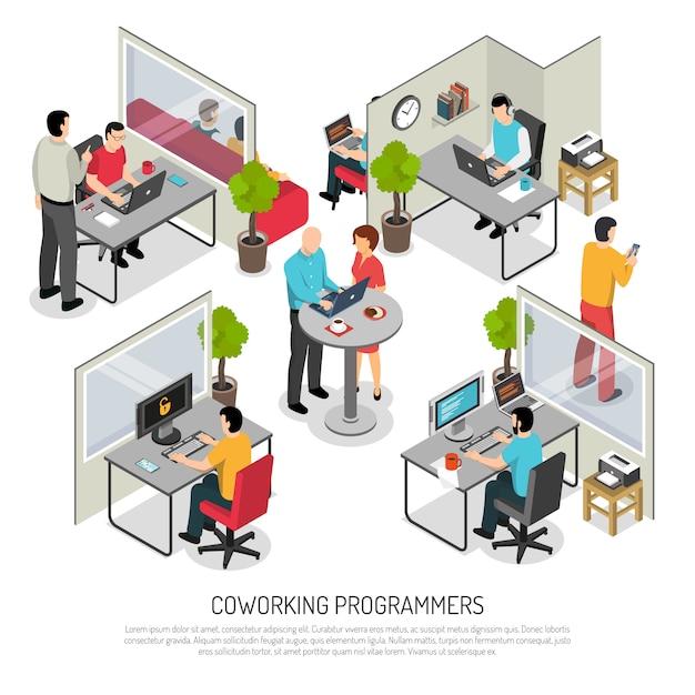 Programmierer, die isometrische schablone des raumes coworking sind Kostenlosen Vektoren