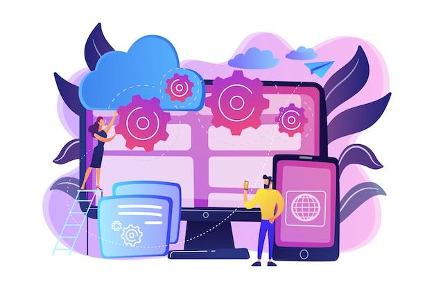 Programmierer entwickeln programme für plattformen. plattformübergreifende programmierung, plattformübergreifende entwicklung und strukturkonzept auf weißem hintergrund. helle lebendige violette isolierte illustration Kostenlosen Vektoren