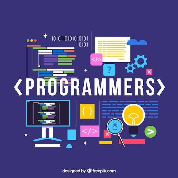 Programmierer-konzept mit flachem design Kostenlosen Vektoren