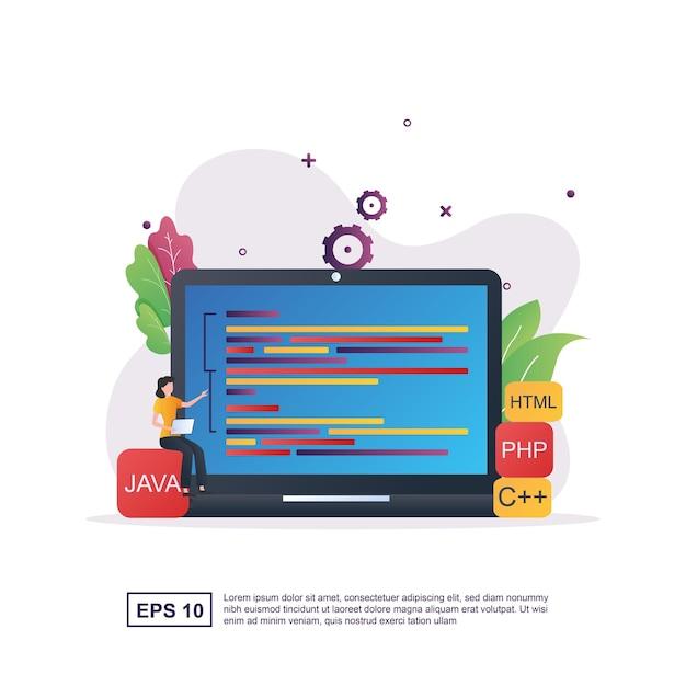 Programmierer mit programmiersprachen und menschen codieren. Premium Vektoren