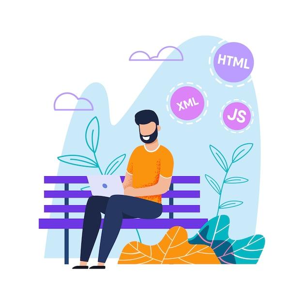 Programmierer oder webdesigner, die entfernt an laptop arbeiten Premium Vektoren