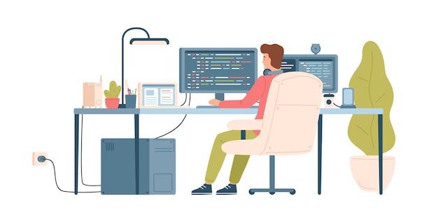 Programmierer, programmierer, webentwickler oder softwareentwickler, der am schreibtisch sitzt und am computer arbeitet Premium Vektoren