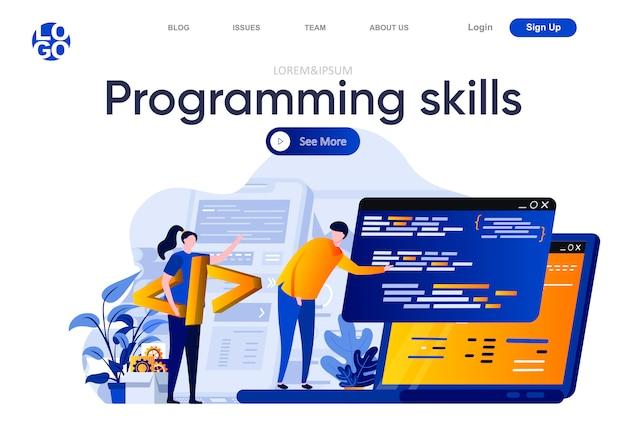 Programmierkenntnisse flache landingpage. entwicklerteam, das illustrationen von computeranwendungen erstellt, testet und programmiert. zusammensetzung der softwareentwicklungswebseite mit personenzeichen. Premium Vektoren