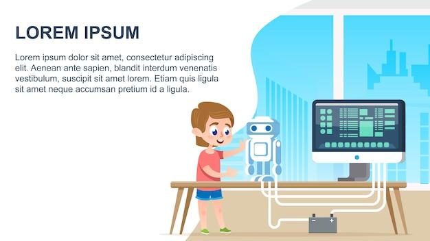 Programmierroboter-ausbildung Premium Vektoren