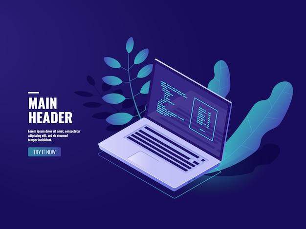 Programmiersoftware, arbeitsplatzbüro, laptop mit zimmerpflanze, webentwicklungswebsite Kostenlosen Vektoren