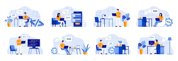 Programmierszenen werden mit personencharakteren gebündelt. frontend- und backend-entwickler, die mit computern in büro-, software-design- und codierungssituationen arbeiten. programmentwicklung flache abbildung Premium Vektoren
