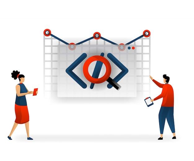 Programmierung und codierung bestimmen den verkehr auf der website Premium Vektoren
