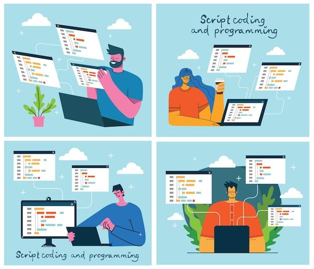 Programmierung und codierung, website-entwicklung Premium Vektoren