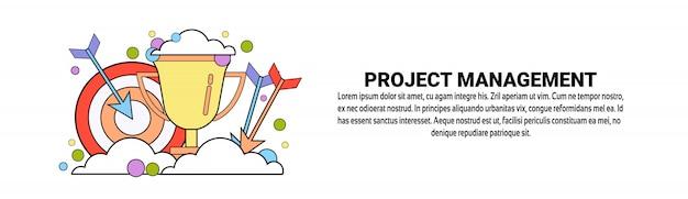 Projekt management business konzept horizontale banner vorlage Premium Vektoren
