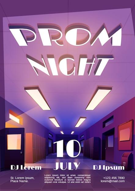 Prom nacht cartoon einladungsplakat zur abschlussfeier oder disco mit leerem dunklen schulkorridor Kostenlosen Vektoren