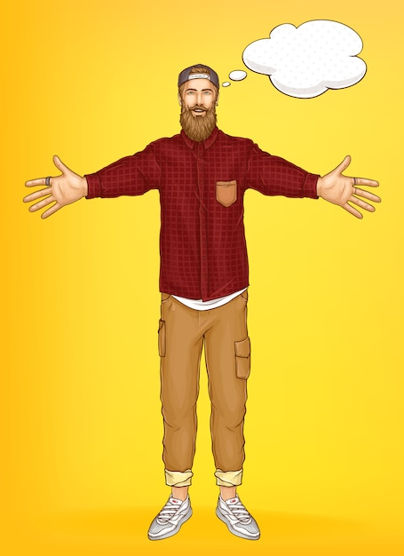 Promo banner vorlage mit hipster mann Kostenlosen Vektoren