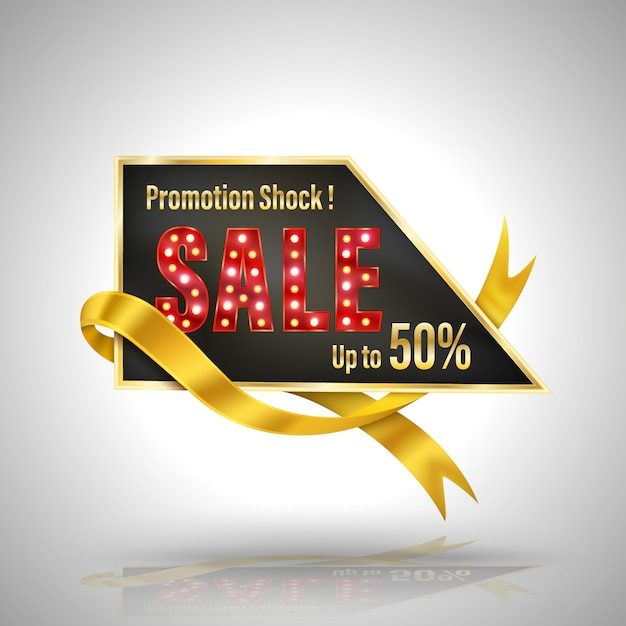Promotion schock verkauf banner 3d-stil Premium Vektoren