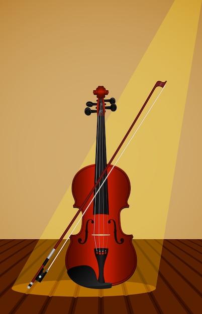 Proportional, darstellung einer violine und bogen auf einem holztisch. Premium Vektoren