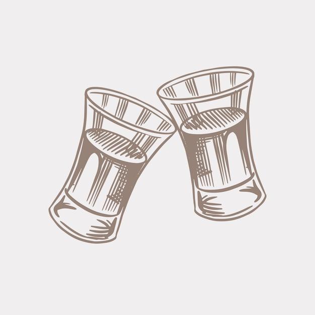 Prost toast. vintage american cognac oder schnapsabzeichen. alkoholisches etikett für plakatbanner. glasschüsse mit starkem getränk. handgezeichnete gravierte skizzenbeschriftung für t-shirt. Premium Vektoren