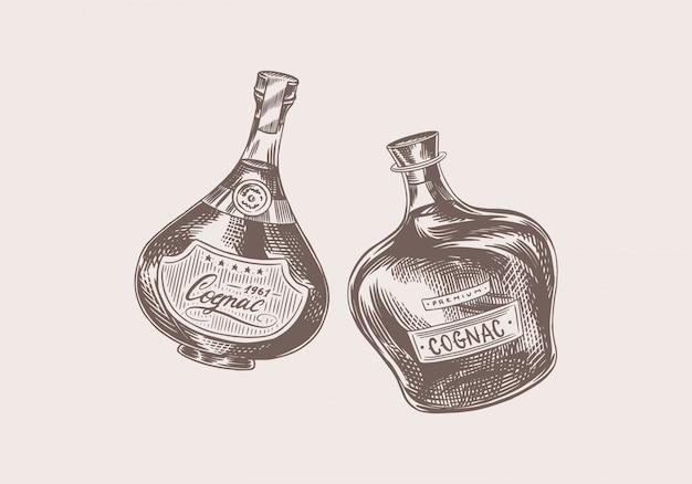 Prost toast. vintage cognac abzeichen. alkoholisches etikett für plakatbanner. flasche brandy mit starkem getränk. handgezeichnete gravierte skizzenbeschriftung für t-shirt. Premium Vektoren