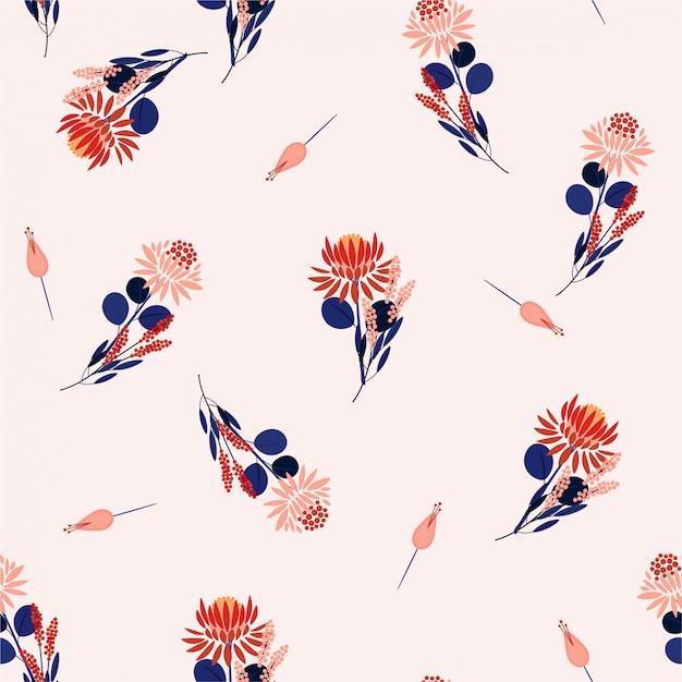 Protea blüht nahtlose musterblumen und -anlagen. zufälliges wiederholungsdesign für modestoffe, tapeten und alle drucke Premium Vektoren