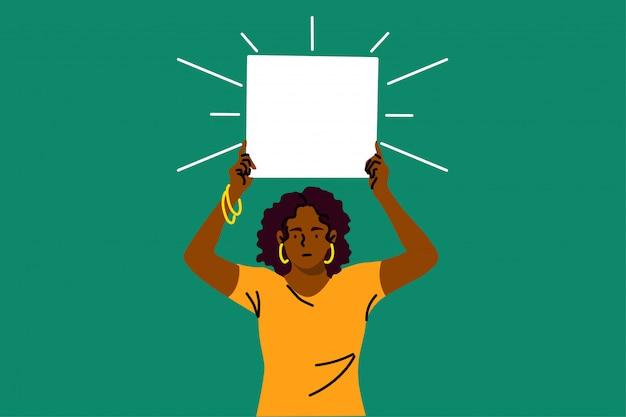 Protest, aktivismus, diskriminierung, rassismus, banner-konzept Premium Vektoren