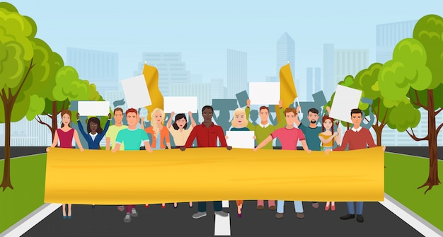 Protestieren sie leute mit großem plakat auf demonstration Premium Vektoren