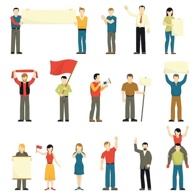 Protestierende dekorative ikonen der leute eingestellt Kostenlosen Vektoren